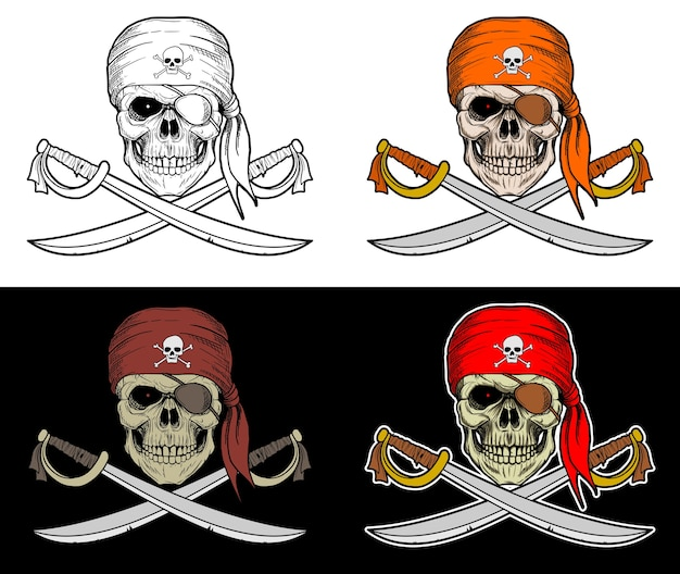 Pirates skull with crossed sword with 4 style color