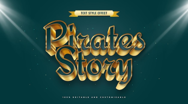 Pirates story text in blue and gold style with 3d effect