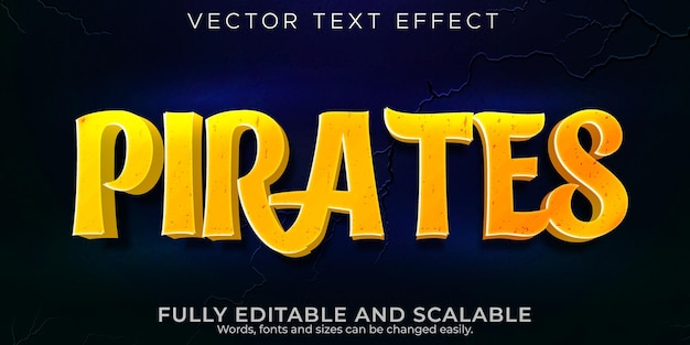 海賊のテキスト効果、編集可能な漫画とコミックのテキストスタイル