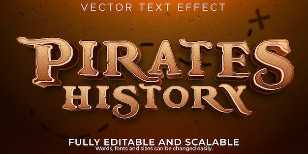 Pirates text effect, editable ship and adventure text style