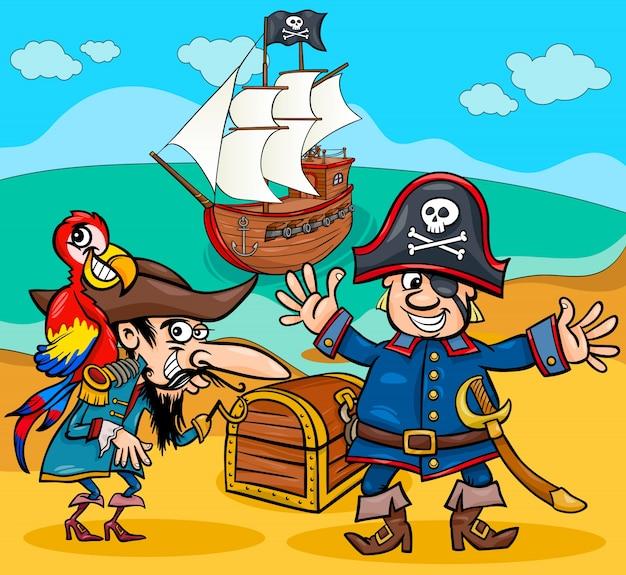 Pirates on treasure island cartoon