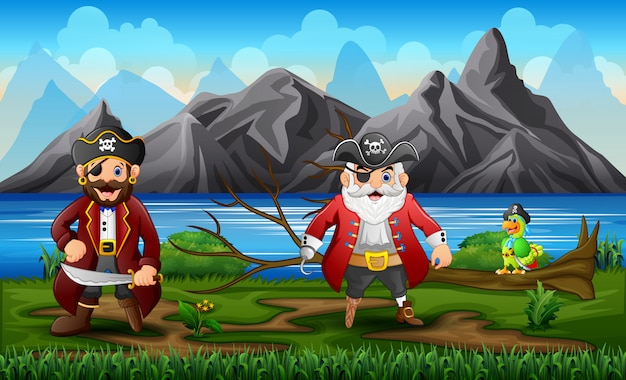 Pirates with a parrot near the river