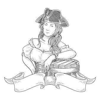 バレルの図面を持つ海賊女性