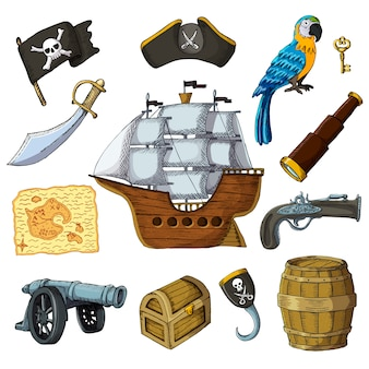 Piratic pirating sailboat parrot character of pirot or buccaneer illustration set of piracy signs hat chest sword and ship with black sails isolated on white background
