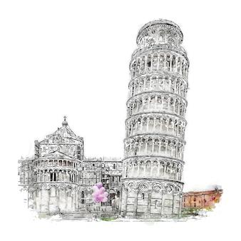 Пиза италия акварельный эскиз рисованной иллюстрации