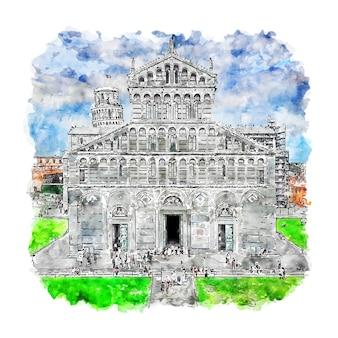 피사 토스카나 이탈리아 수채화 스케치 손으로 그린 그림