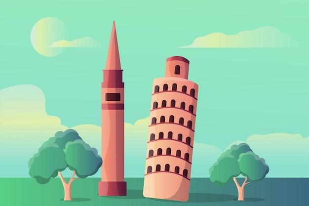 観光名所のピサの斜塔とマルクス塔のイラスト風景