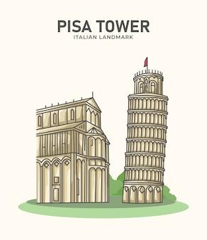 Пизанская башня итальянская достопримечательность минималистская иллюстрация