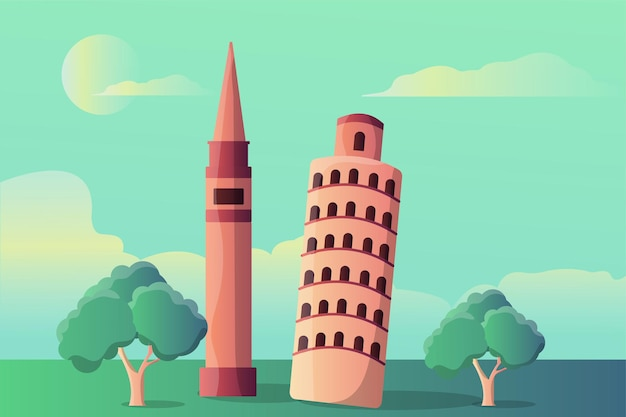 Pisa tower and markus tower illustration landscape for tourist attractions