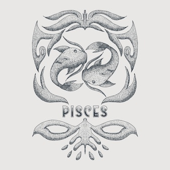 Pisces vintage decoration vector illustration