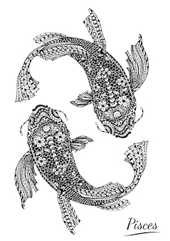 Pisces of zodiac by hand drawing