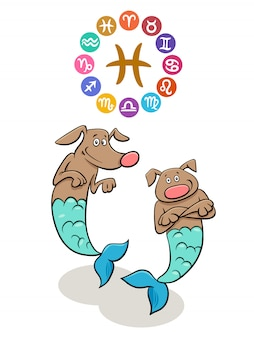Pisces zodiac sign with cartoon dog