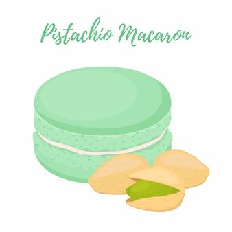 Pistachio macaron with meringue cream.
