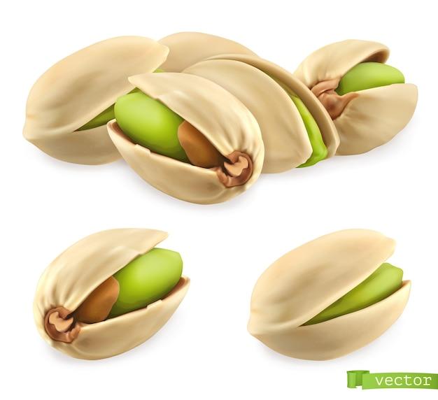 Фисташковые орехи. 3d реалистичный вектор