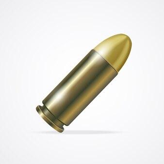 白い背景で隔離のピストル弾。