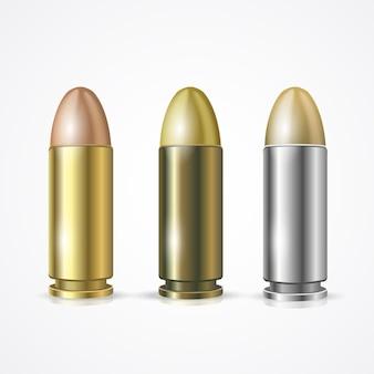 권총 총알 세트 흰색 배경에 고립입니다. 표적 타격의 상징