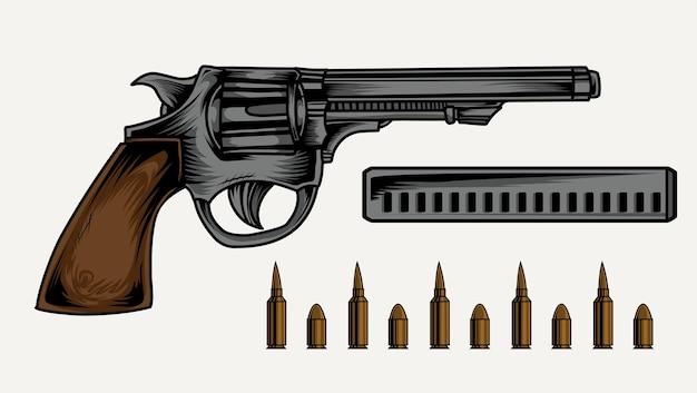 ピストル銃のイラスト