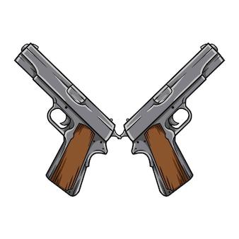 白灰色のトーンのピストル銃リボルバー