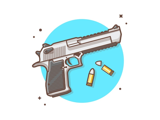 Pistol gun with bullets vector clip-art illustration