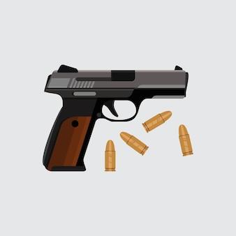 Пистолет с пулями векторные иллюстрации ручной пистолет в черном и сером
