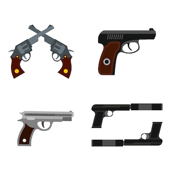 Pistol icon set. flat set of pistol vector icons collection isolated