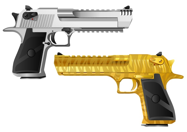 Pistol models of different color types