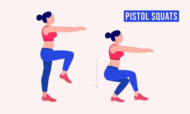 Pistol squats exercise woman workout fitness aerobic and exercises