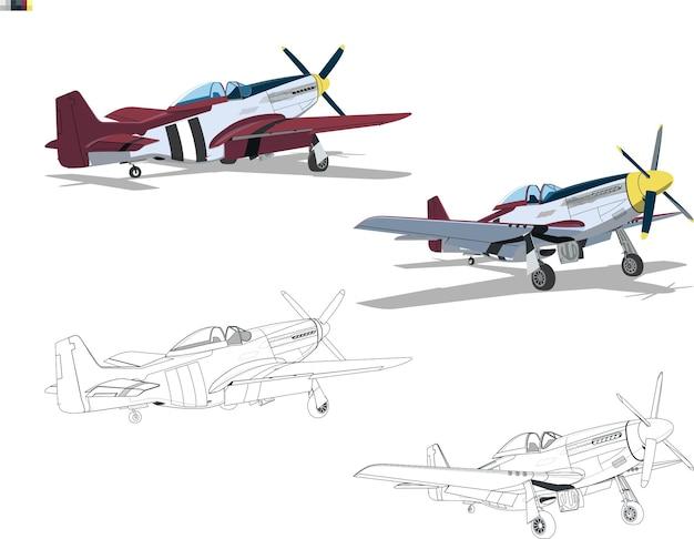 着陸装置のピストン航空機。正面図と背面図。