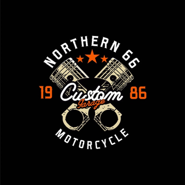 Piston custom motorcycle logo garage design