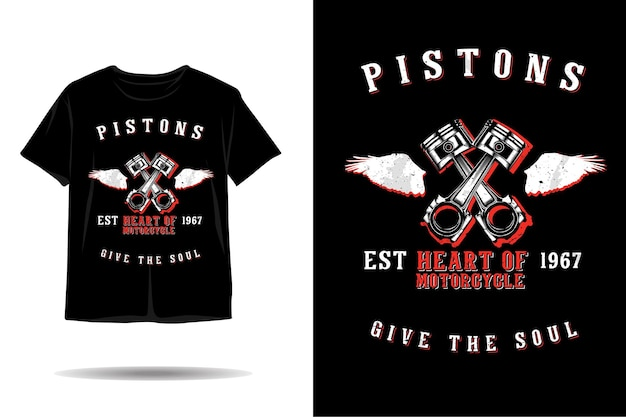 Pistons heart of motorcycle silhouette tshirt design
