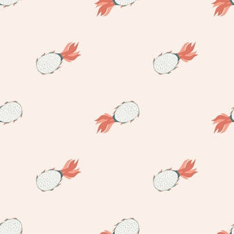 Pitahaya seamless doodle pattern in light pastel pink tones. summer food