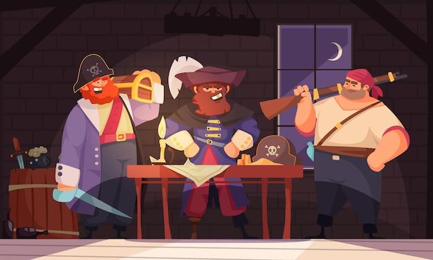 Композиция pitate с внутренним пейзажем и группой мультяшных персонажей пиратов с оружием и картой.