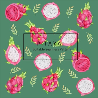 Pitaya dragon fruit watercolor seamless pattern