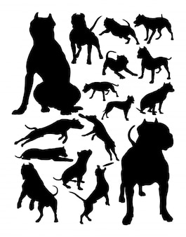 Pitbull dog animal silhouettes.