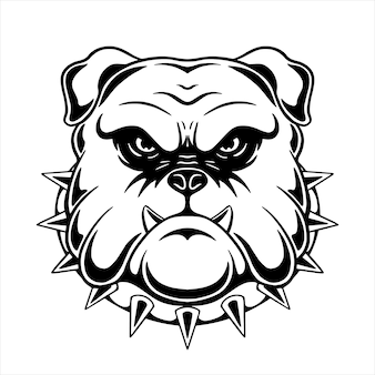 Pitbull head design with hand drawing style
