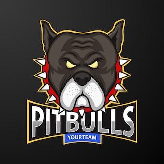 Pitbull head талисман логотип