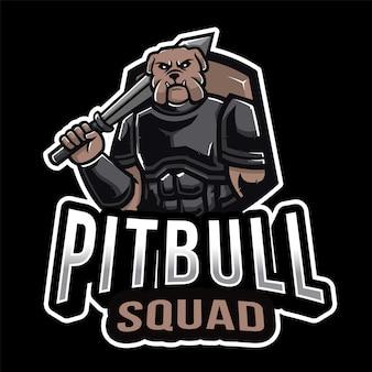 Шаблон логотипа pitbull squad esport