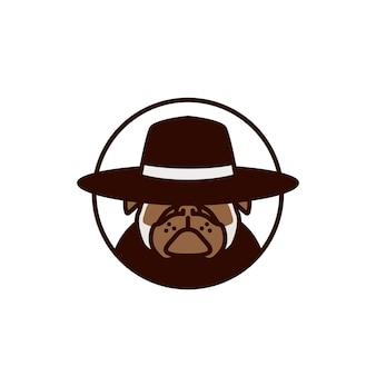 Pitbull using hat logo vector illustration