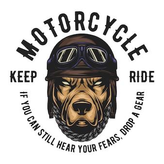 ピットブルはヴィンテージライダーヘルメットを着用し、テキストを簡単に変更できます