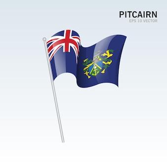 회색에 고립 된 깃발을 흔들며 핏 케언 제도