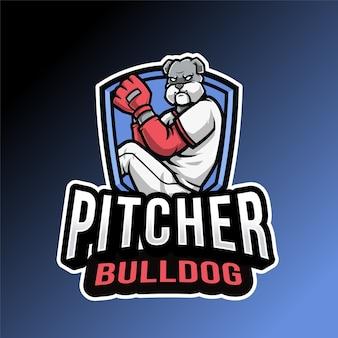青と黒で分離されたピッチャーブルドッグのロゴ