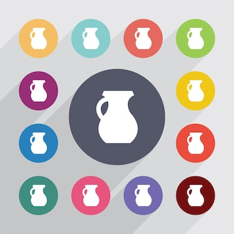 Pitcher, flat icons set. round colourful buttons. vector