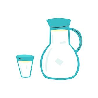 유리컵 우유