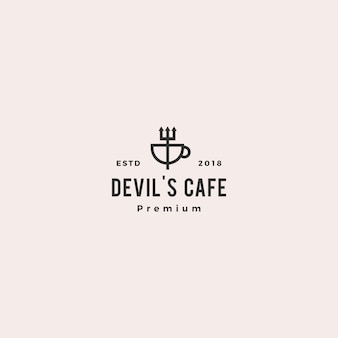 Pitchfork mug devil cafe logo vector illustration