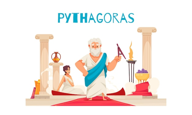 Pithagoras composition with doodle character of ancient greek mathematician pythagor with columns red carpet and text