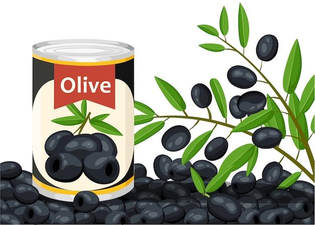 Черная маслина без косточек в алюминиевой банке. консервированные оливки с логотипом ветки. товар для супермаркета и магазина. иллюстрация на белом фоне.