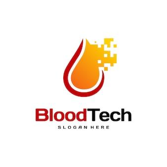 Pix blood technologyロゴデザインコンセプトベクトル、blood healthcareロゴデザインテンプレート、献血者