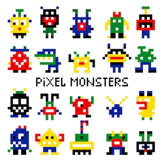 Pixcolored pixelated retro space monsters for arcade computer game