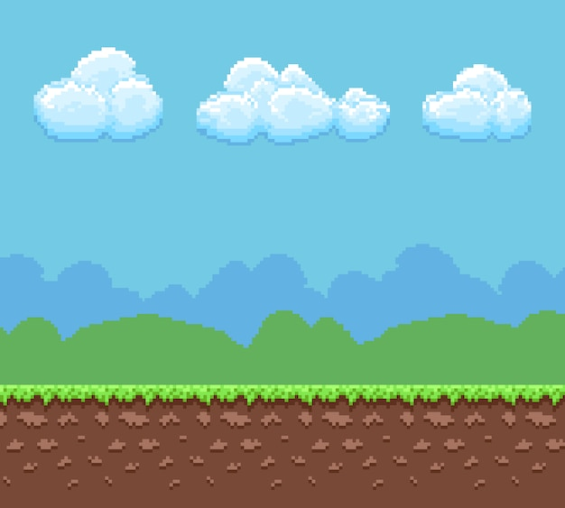 Pixel 8 bit game background with ground and cloudy sky panorama.