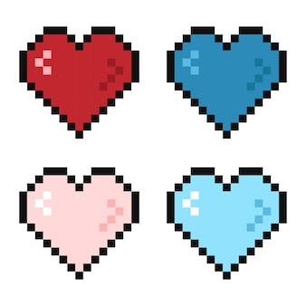 Пиксель 8-битное сердце в разных цветах жизни